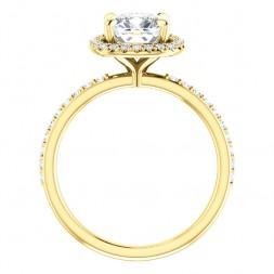 14K Yellow 7 mm Cushion Engagement Ring
