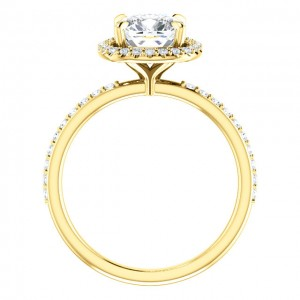 14K Yellow 7 mm Cushion Engagement Ring