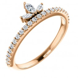 14K Rose 1/3 CTW Diamond Stackable Crown Ring