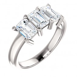 Three Emerald Cut 1 3/4 CTTW  Diamond Ring