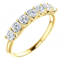 14K Yellow 1.00 CTTW Cushion Diamond Anniversary Band