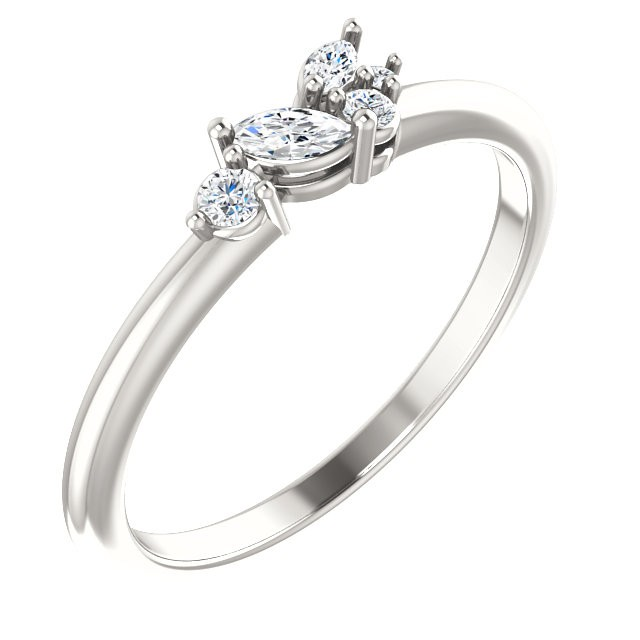 Sterling Silver 1/6 CTW Diamond Stackable Ring