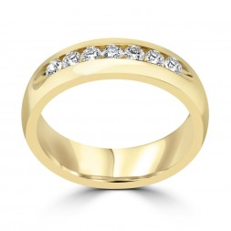 Gents 14K yellow gold diamond band 7rd=0.49tw (SI1,H) Size 10