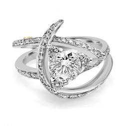 White 14 Karat Laurel Semi-Mount Ring With 0.18Tw Round Diamonds