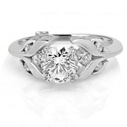 White 14 Karat Laurel Semi-Mount Ring With 0.18Tw Round Diamonds