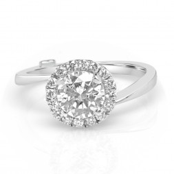 White 14 Karat Whimsical Semi-Mount Ring With 0.37Tw Round Diamonds