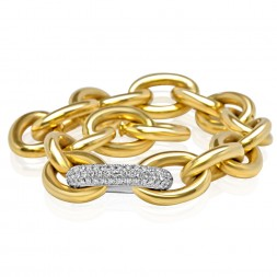 Lady's Yellow 18 Karat Oval Link Bracelet With 1.70Tw Round Diamonds