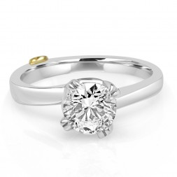 White 14 Karat Zeal Semi-Mount Ring With 0.12Tw Round Diamonds