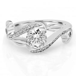 White 14 Karat Zeal Semi-Mount Ring With 0.12Tw Round Diamonds