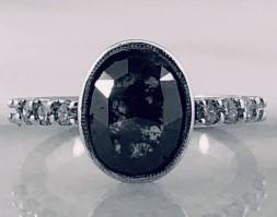 Fancy Gray Rose Cut Diamond Ring