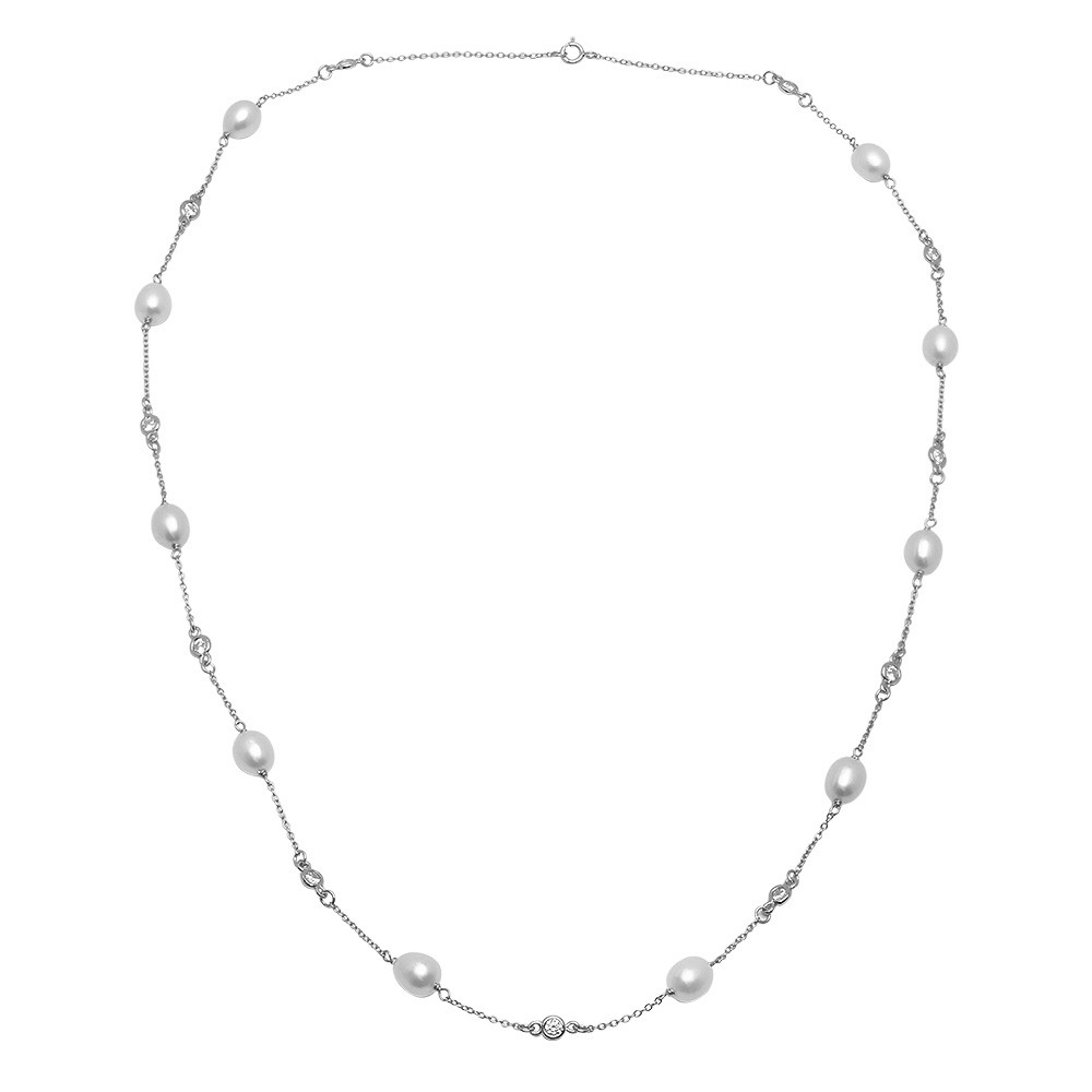Freshwater Pearl/CZ  Sterling Silver  Necklace