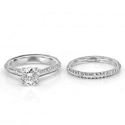 Lady's White 18 Karat New Aire Semi-Mount Set Wedding Set 0.60tw Round Diamonds one Round Cubic Zirconium 0.55tw Round Diamonds