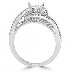 White 18 Karat Semi-Mount Ring Size 6.5 With 0.37Tw Round Diamonds