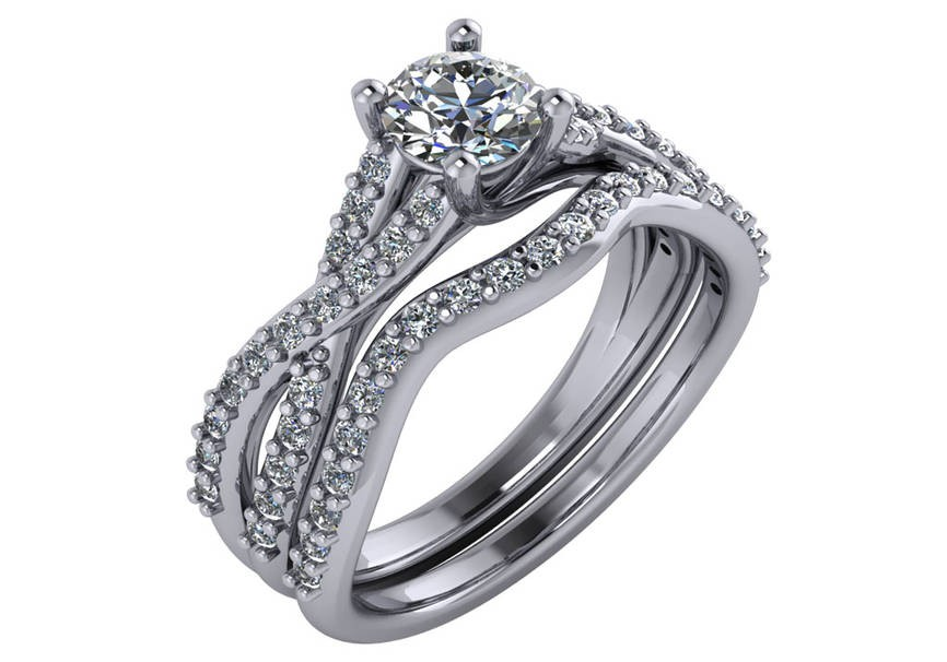 14 KT White Gold .86CTTW Twisted Engagement Ring