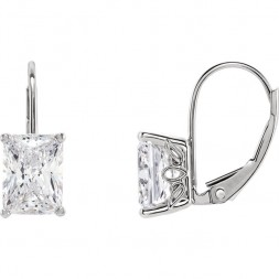 1 CTTW Emerald Cut Moissanite Lever Bac Earrings