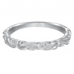 Diamond Five Stone Wedding Band With Satin Finished Floral Carving Detail To Match Engagement Ring 31-V100