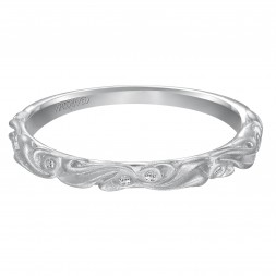 Diamond Wedding Band With Satin Finished Floral Carving Detail Highlighted With Diamonds To Match Engagement 31-V101