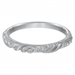Diamond Wedding Band With Satin Finished Floral Carving Detail Highlighted With Diamonds To Match Engagement Ring 31-V10