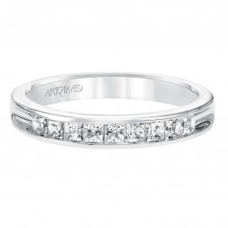 Anniversary Ring With Princess Cut Channel Set Diamonds Halfway Around