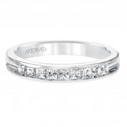 Anniversary Ring With Princess Cut Channel Set Diamonds Halfway Around