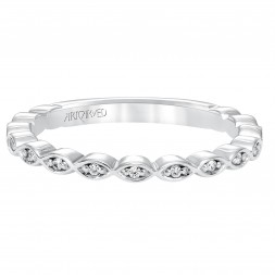 Anniversary Ring With Round Diamonds Set In A Delicate Petal Motif Design