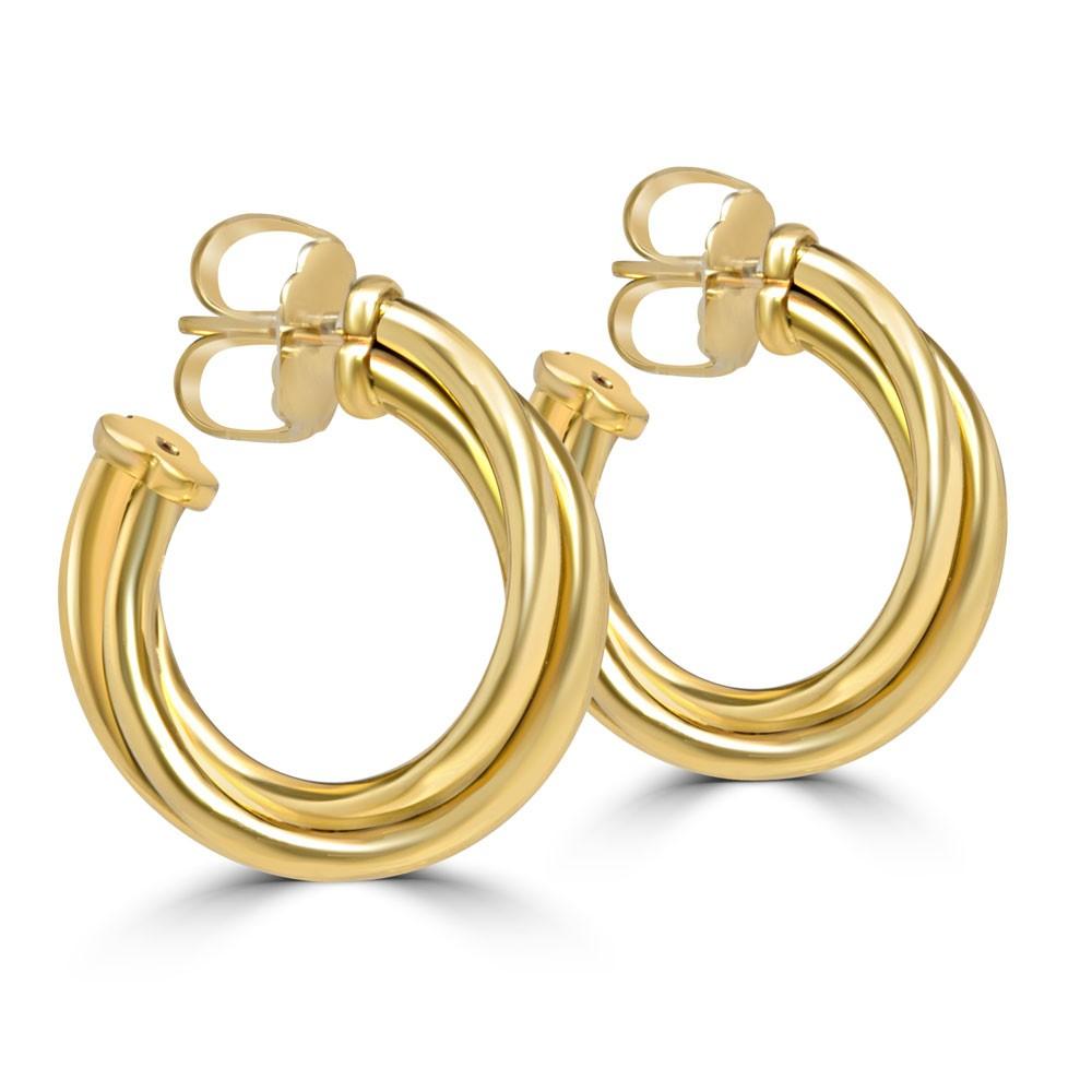 Yellow 18 Karat Classic Medium Half Hoop Earrings
