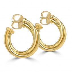Yellow 18 Karat Classic Medium Half Hoop Earrings