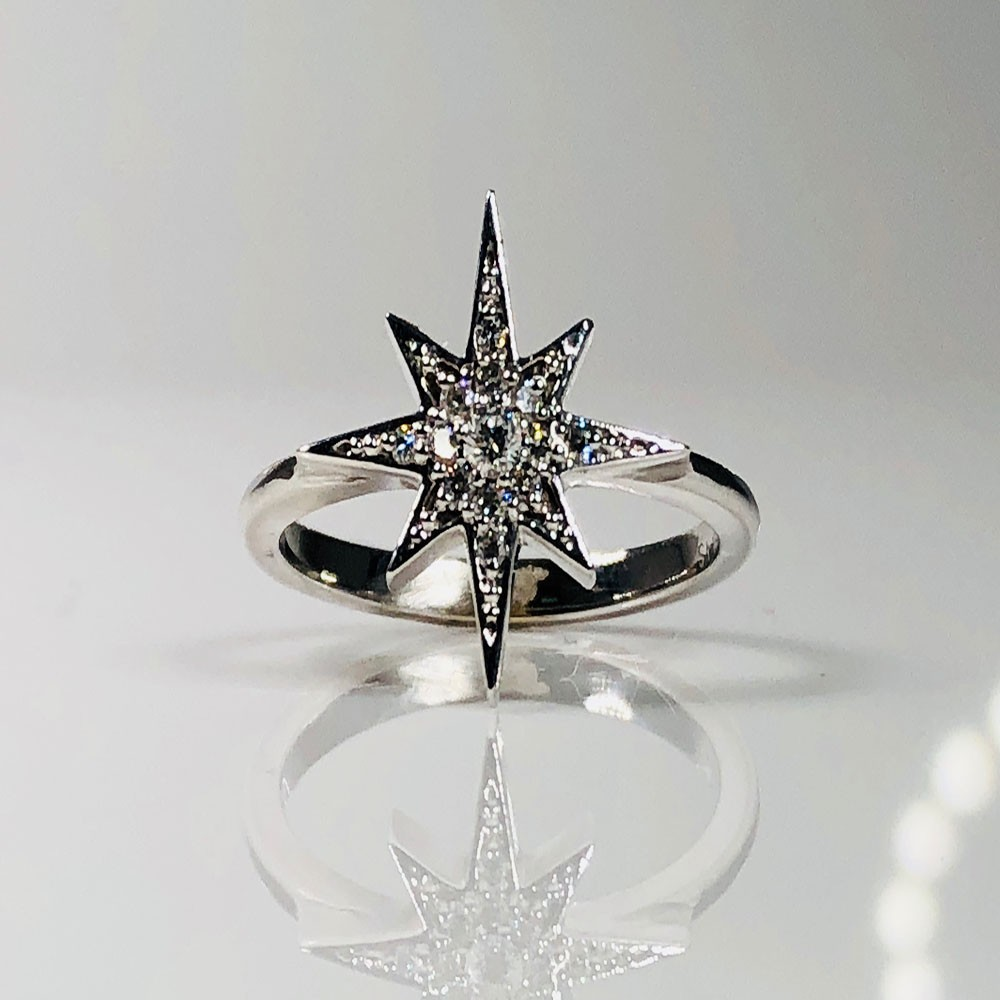 Hand-Made Diamond Starburst Ring