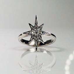 Hand-Made Diamond Starburst Ring