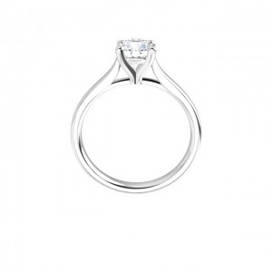 14K White .75 CT Round Signature Engagement Ring