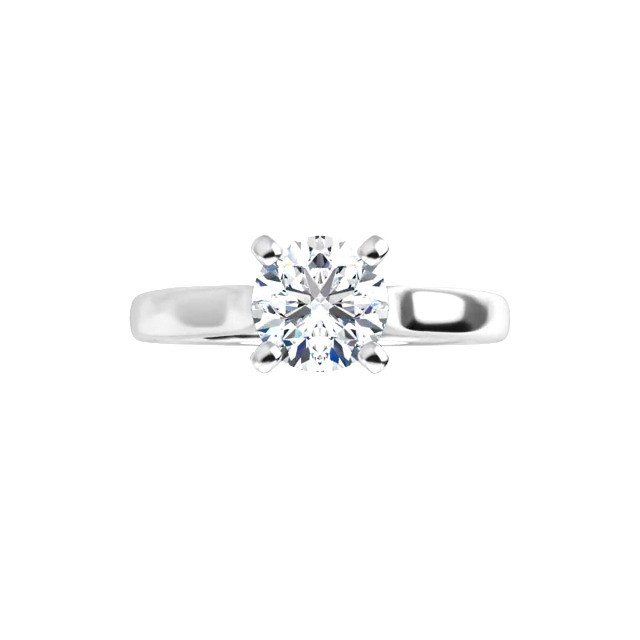 14K White .75 CT Round Signature Engagement Ring