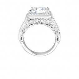 14K White 8x8 mm Square Vintage-Inspired Halo-Style Moissanite Engagement Ring
