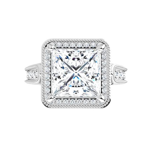 14K White 8x8 mm Square Vintage-Inspired Halo-Style Moissanite Engagement Ring