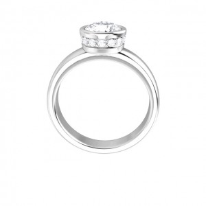 14K White 1.00 CT Round Bezel Engagement Ring