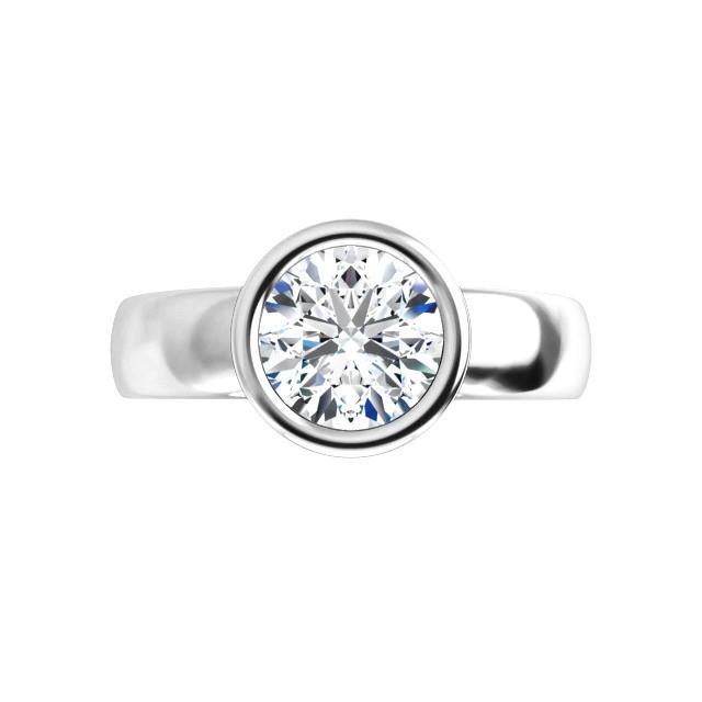 14K White 1.00 CT Round Bezel Engagement Ring