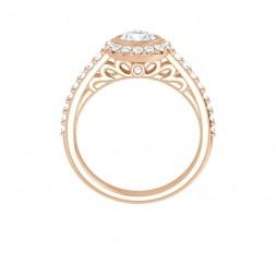 10K Rose 4.8 mm Moissanite and Diamond Engagement Ring