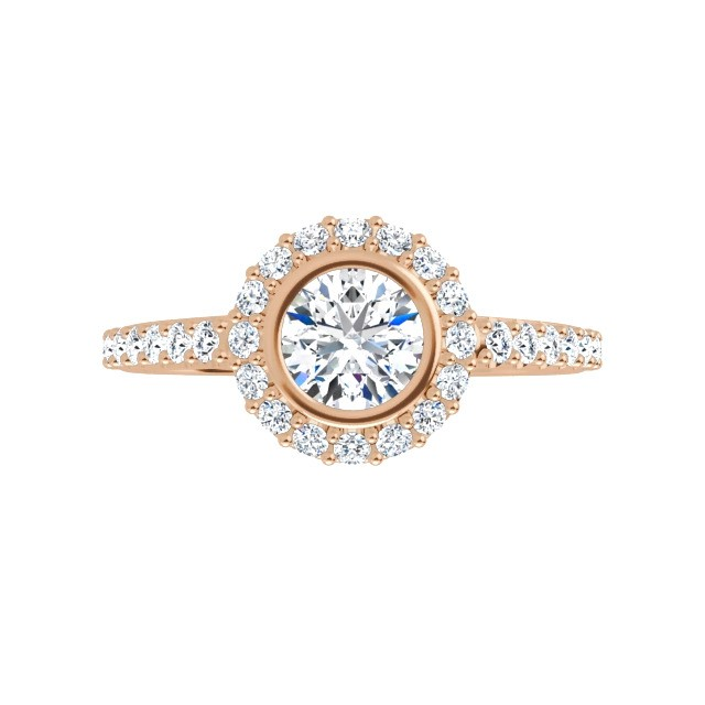 10K Rose 4.8 mm Moissanite and Diamond Engagement Ring