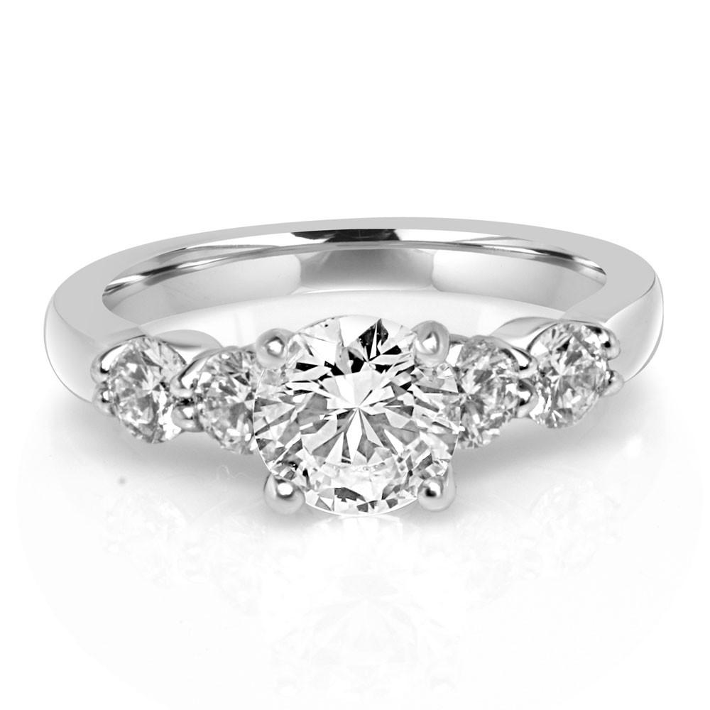White 18 Karat Semi-Mount Ring With 0.60Tw Round Diamonds And One Round Cubic Zirconium