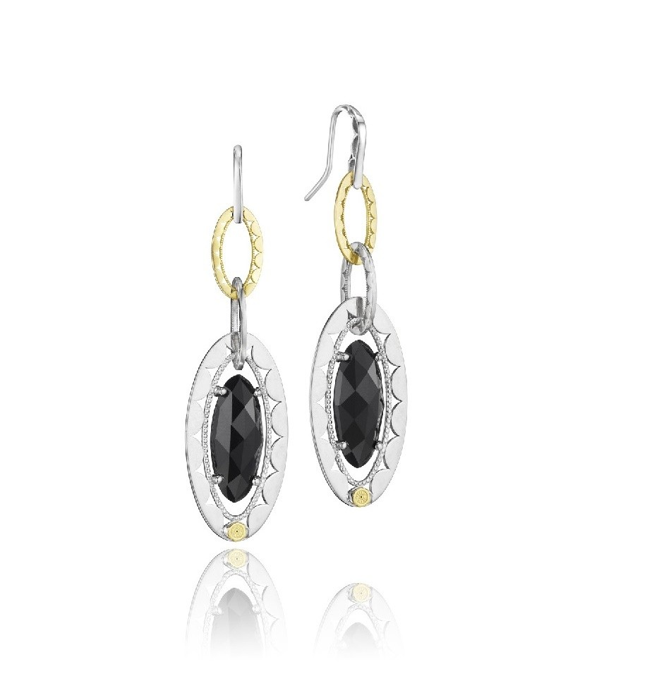 Tacori SS/18KY OVAL BLK ONYX BRIOLETTE LINK EARGS
