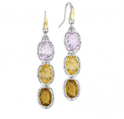 Tacori SS/18KY ROSE AMY, CITRINE, WHSKY, OVAL COLORED MEDLEY EARGS