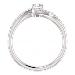 14K White .44cttw Round Swirl Engagement Ring