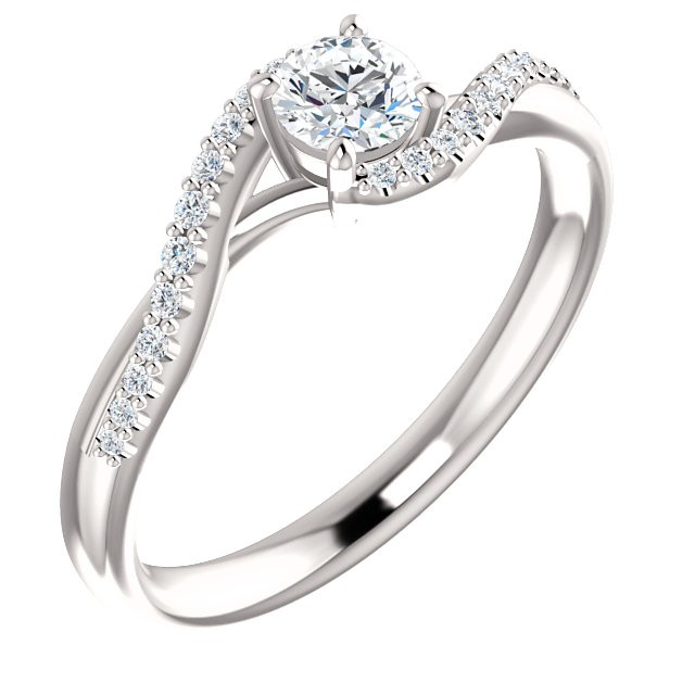 14K White .44cttw Round  Swirl Engagement Ring