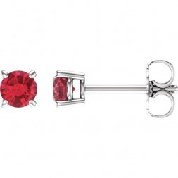 14kt White 4mm Round Ruby Earrings