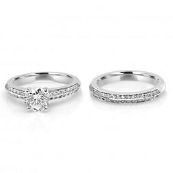 Lady's White 18 Karat Petite Flushfit Wedding Set one Round Cubic Zirconium 0.15tw Round Diamonds 0.20tw Round Diamonds