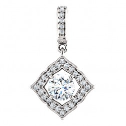 14 kt White Gold Halo 3/4ct D-E-F Moissanite Pendant.
