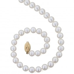 14K 8+MM White Freshwater Cultured Pearl 18