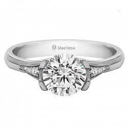 EORSA ROUND PAVE ENGAGEMENT WITH 0.40ct H-SI ROUND CENTER