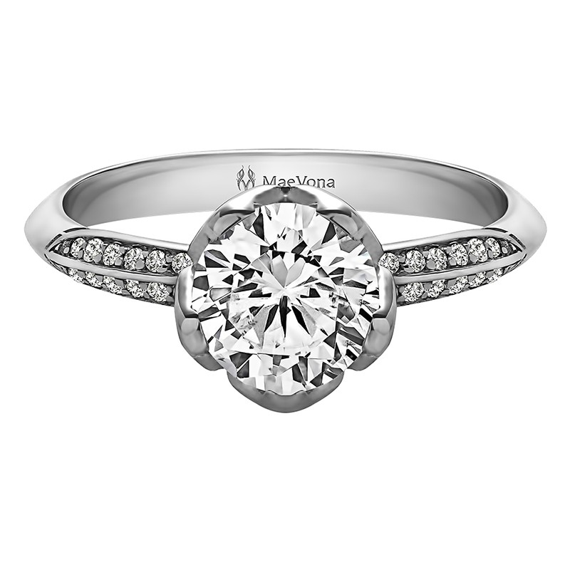 BLUEBELL ROUND PAVE ENGAGEMENT WITH 0.40ct H-SI CENTER STONE