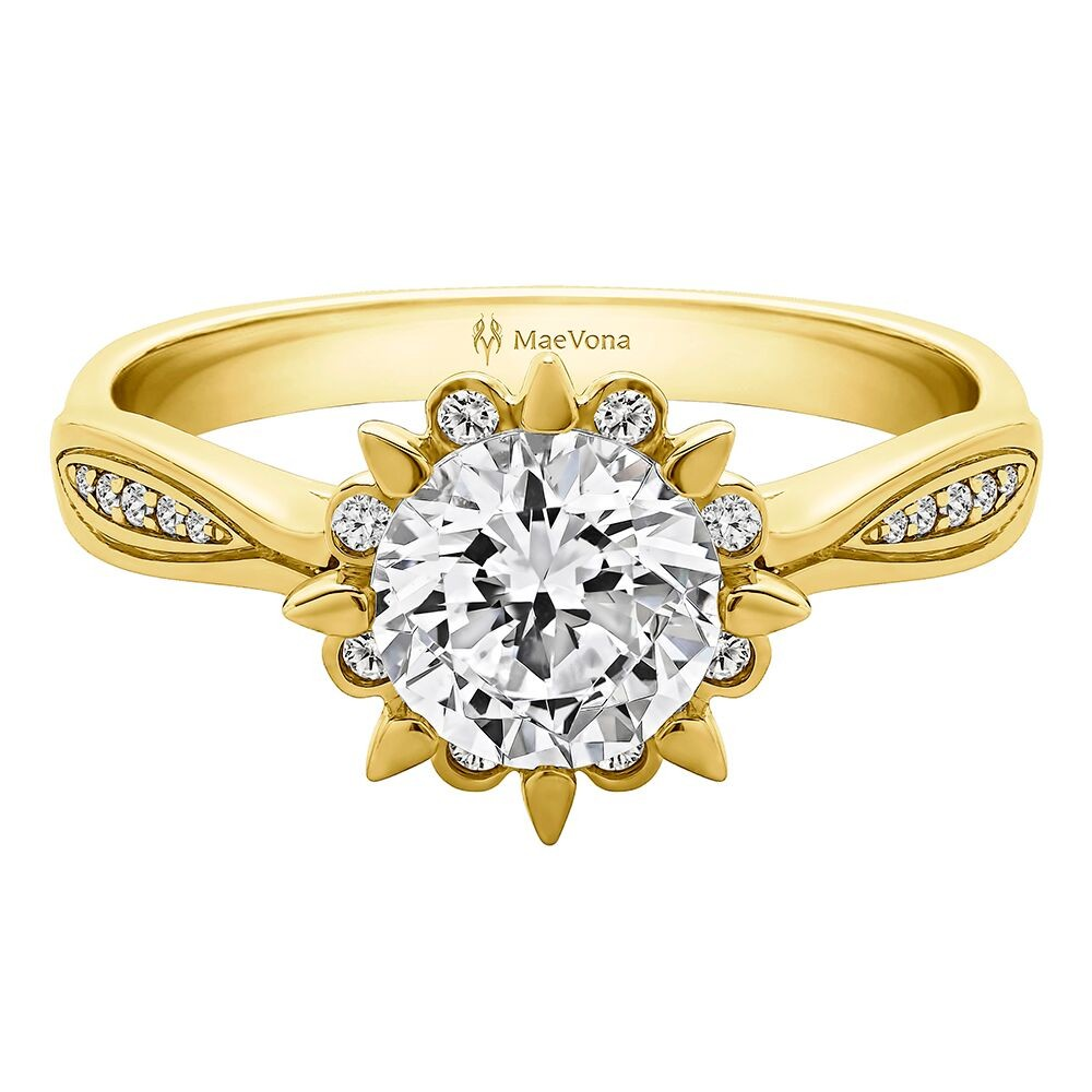 SNOWDROP ROUND HALO PAVE ENGAGEMENT WITH 0.40ct H-SI DIAMOND CENTER