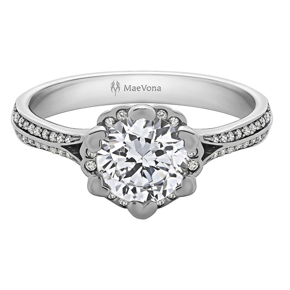 IRIS PAVE ROUND ENGAGEMENT WITH 0.40ct H-SI ROUND CENTER